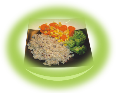 Brown rice with stewed vegetables