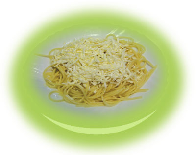 Spaghetti with white cheese and butter