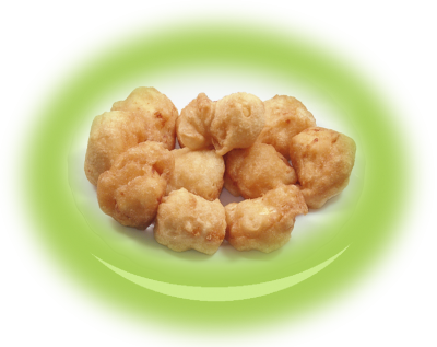Breaded pieces of  white cheese