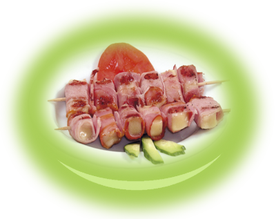Pieces of yellow cheese wrapped in ham