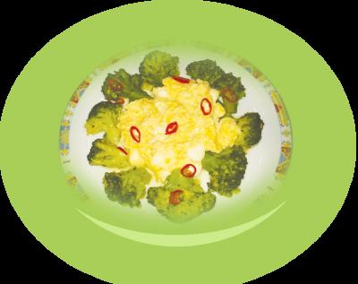 Scrambled eggs with mozzarella and broccoli