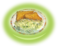 Breaded pieces of yellow cheese with cabbage garnish