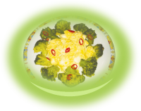Scrambled eggs with mozzarella and broccoli